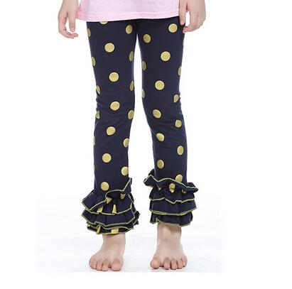 Girls Gold Polka Dot Ruffle Footless leggings Gold glitter pants,gold Metalic Polka Dots pants,girls ruffle leggings trousers