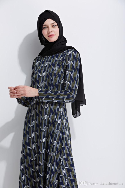 2018 Осень Новое Прибытие Мусульманские Женщины С Длинным Рукавом Макси Платье Цветочный Принт Исламская Абая Кафтан Кафтан Платье