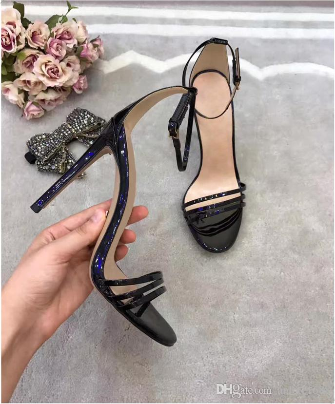 Removable Crystal Bowtie Gladiator Sandals Women Summer Patent Leather High-heeled Pumps Black Ankle Strap Dress Wedding Mary Jane Shoes
