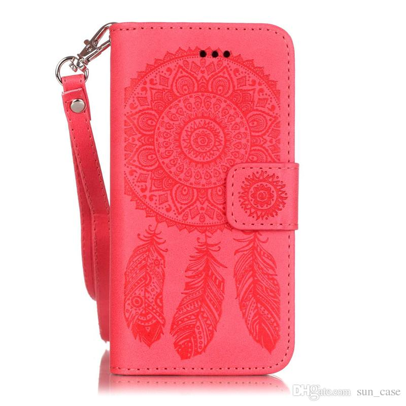 For Samsung Galaxy S8 Plus J3Prime J5 2015 Grand Prime G530 LG G5 K7 Huawei P8 P9Lite Y625 Case Dream Catcher PU Leather Wallet Rope Cover