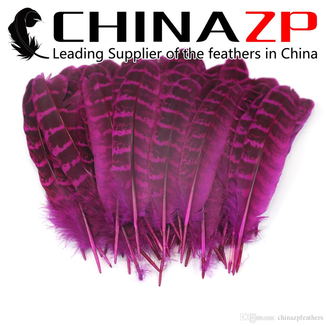 CHINAZP Factory high quality Hot Pink Dyed Natural Ringneck Hen Pheasant  Round Quill Wing Feathers for Costume Projects