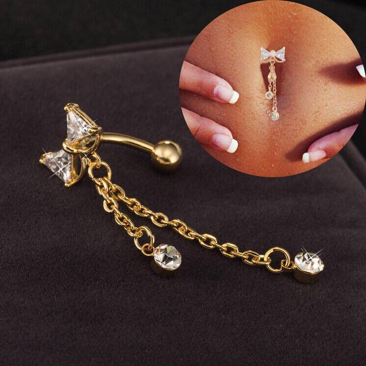 Bow cristallo ciondola Elegante Catena i monili penetranti dell'ombelico Ombligo pulsante della barra della pancia Gioielli Bilanciere del corpo degli anelli di trasporto