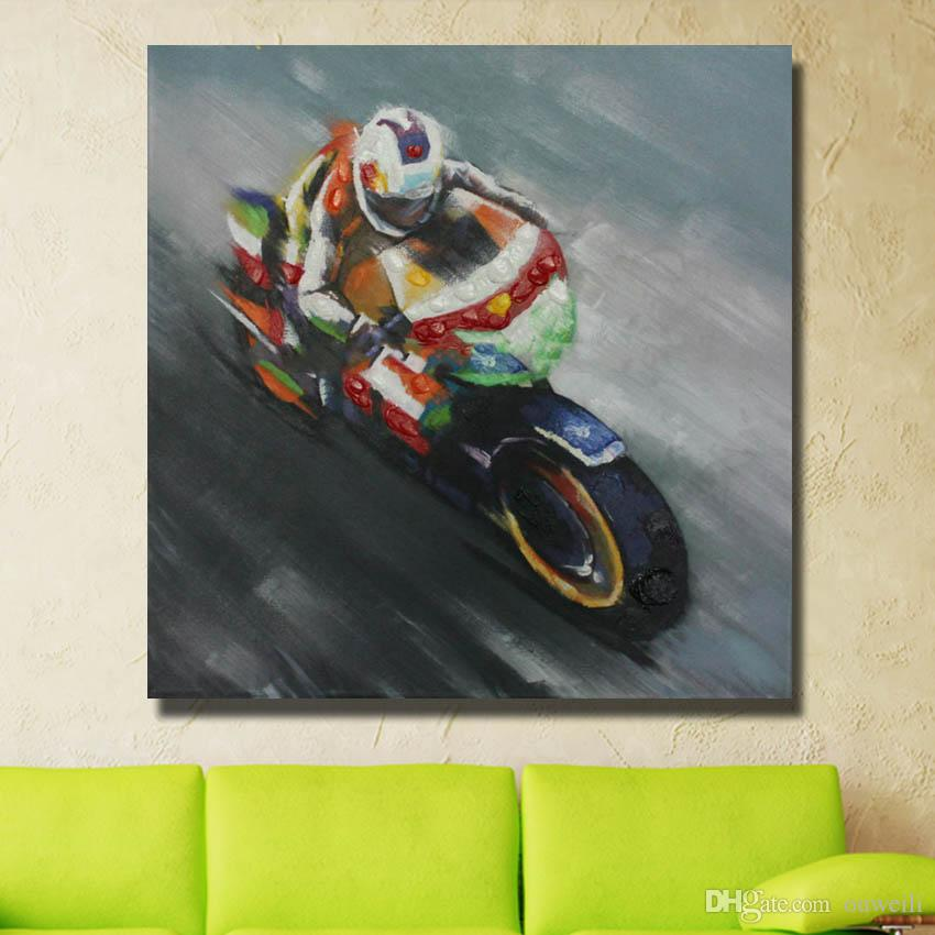 abstract canvas art decor handmade motorcycle oil painting picture modern living roo walll art canvas