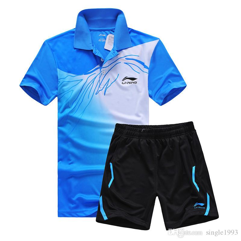 New Li Ning sports series wicking breathable clothing badminton men's t-shirt table tennis clothes suit shirt+shorts
