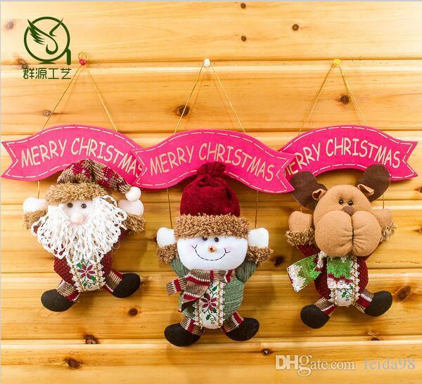 Merry Christmas Santa Claus snowman elk deer doll cloth pendant Party Decor props Door tree kid room ornaments HJIA882