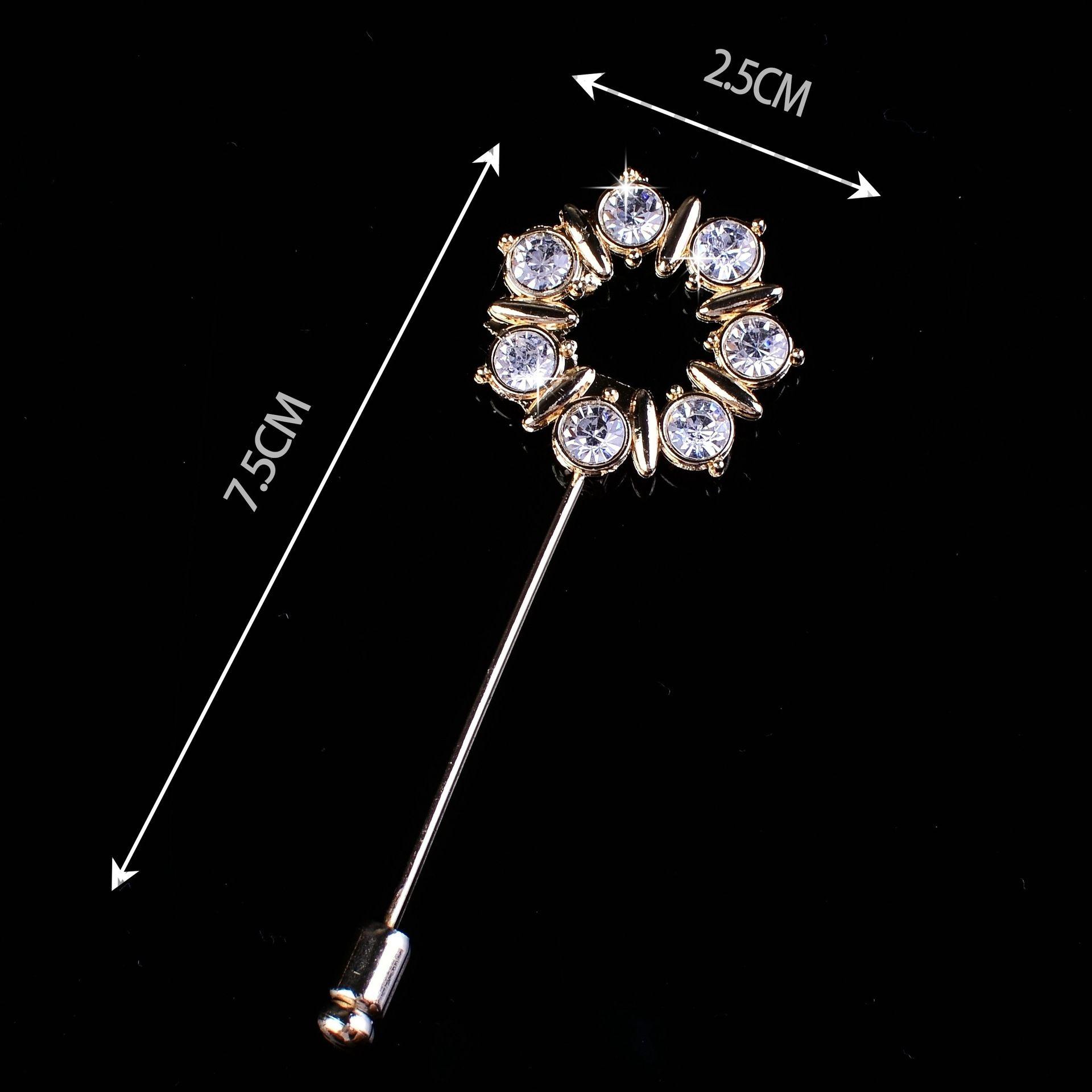 High - grade men 's brooches suit dress crystal drilling Xionghua fashion Korean long needle brooch men and women shirt collar
