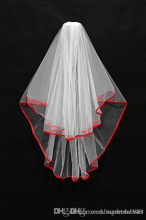 En Stock Court Deux Couches Mariage Voile De Mariée Blanc / Rouge / Noir Ruban Bord Avec Peigne Voile Stock Livraison Gratuite Accessoires De Mariage