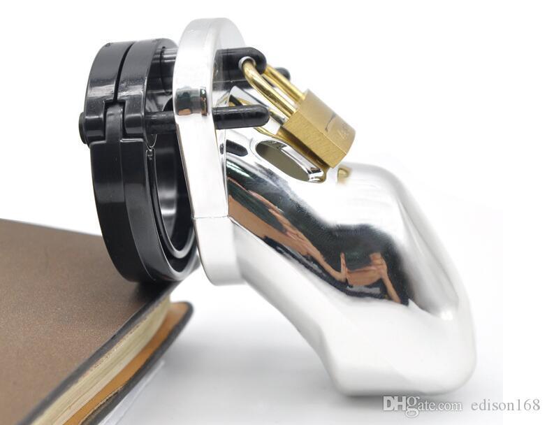 Männlicher Schwanzkäfig mit 5 Penis Ring Wählbare rutschfeste Spike Ring Keuschheitsgerät Lock Erwachsene Bondage BDSM Sex Spielzeug 7 Farbe A305
