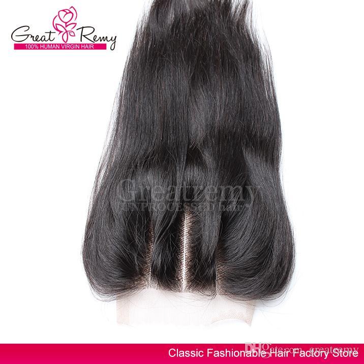 greatremyプリ - プラック3パートレース閉鎖インド人の髪10-18インチストレートバージンヘアクロージャー4 * 4送料無料(米国のみ)