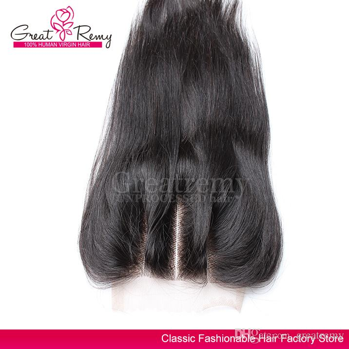 Greatremy Pré arrancada 3 Parte Lace Encerramento indiano Cabelo Humano 10-18inch Hetero Virgin cabelo Encerramento 4 * 4 frete grátis somente para os EUA