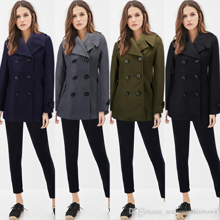 2017 Military Style Womens Wool Blend Peacoat Long Sleeve Double ...