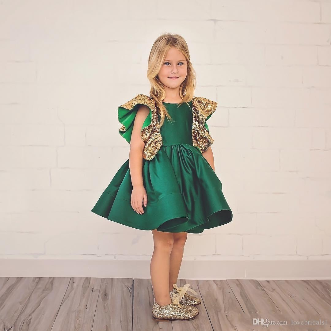 dark green girls' pageant dress knee-length jewel sequin satin ruffle lovely princess birthday party homecoming dress for toddler girl