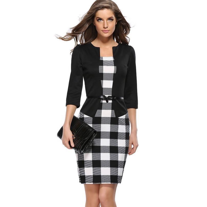 Acquista Elegante Collo Slanciato Slim Lavoro Ufficio Business 3 4 Manica  Femminile Cintura Aderente Abito Autunno Inverno Abbigliamento Donna Abiti  Da ... 437df373439