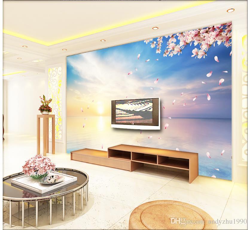 Papel tapiz fotográfico 3D personalizado 3d murales de pared papel tapiz mural Paisaje del mar fondo de pantalla de papel tapiz de pared de papel de pared decoración de la sala