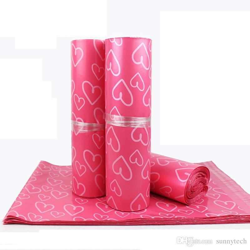28 * 42cm rosa Herz-Muster Kunststoff-Pfosten-Post-Beutel Poly Mailer Self Sealing Mailer Verpackung Umschlag Courier Eilbeutel LZ0736