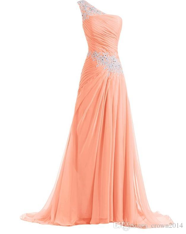 2020 Chiffon Coral Long Bridesmaid Dresses With Ivory Lace Applique One Shoulder Beaded Pleated Formal Evening Prom Gowns Custom Made Cheap