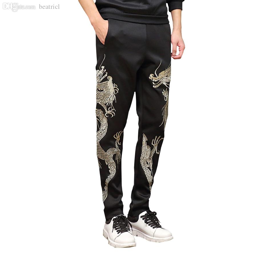 61e416d4bef0d5 2019 Wholesale 2016 Mens Joggers Pants Men Pencil Pants Chinese Dragon Pure  Manual Embroidery Space Cotton Sweatpants Trousers Plus Size From Beatricl
