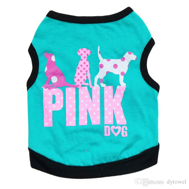 Free Shipping 2016 Lovely Fashion Pink Letter Pet Puppy Dog Vest Clothes Summer Dog Shirt Small Dogs Clothing 4 Colors