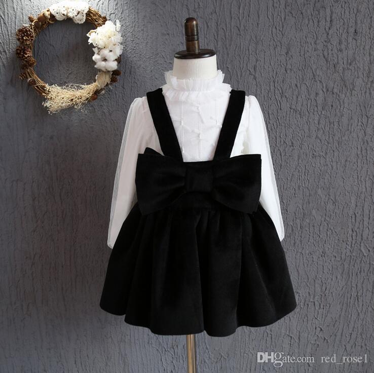 Baby girls klänning jul barn kläder 2017 ny höst vinter klänning koreanska mode ärmlös båge prinsessa klänning fest klänning