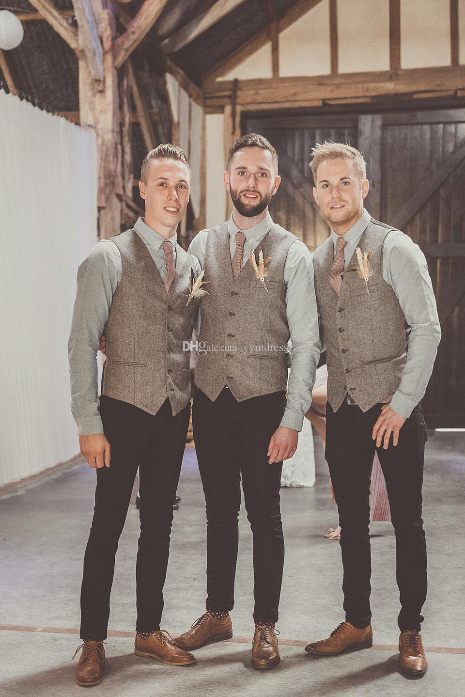 2020 Lana Modest chalecos novio del juego del estilo británico de los hombres de chalecos Slim Fit hombres del vestido de boda del chaleco del chaleco de los padrinos de boda Traje por encargo