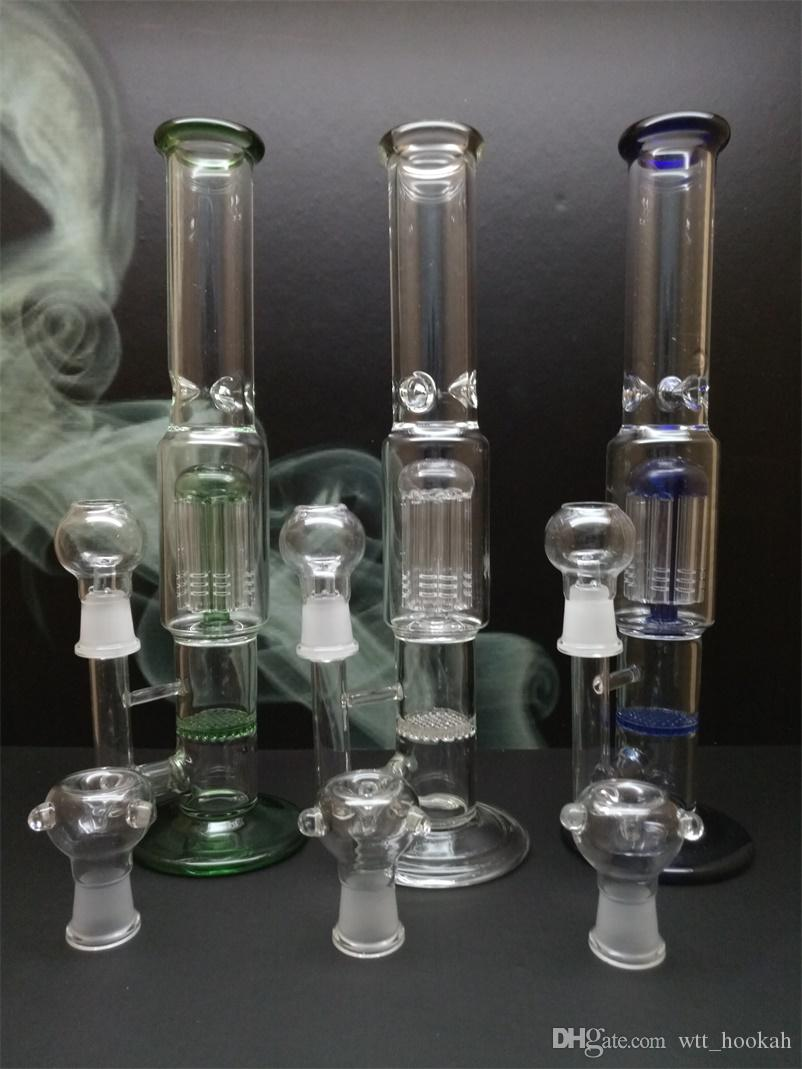 """2016 Glass Water Smoking Pipe Percolator Pipes Honeycomb Disk Bong With Arm Tree Perc Vase 9.8""""/ 12"""" Height"""