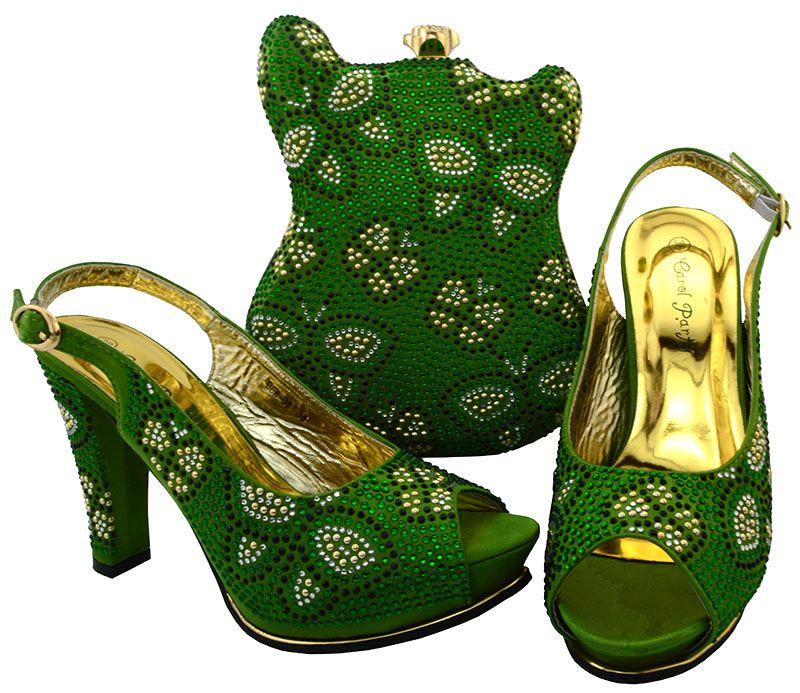 Maravillosa agua verde zapatos africanos bolso de partido con diamantes de imitación señora tacón y bolso de mano para vestido BCH-35, 11.5 CM de tacón