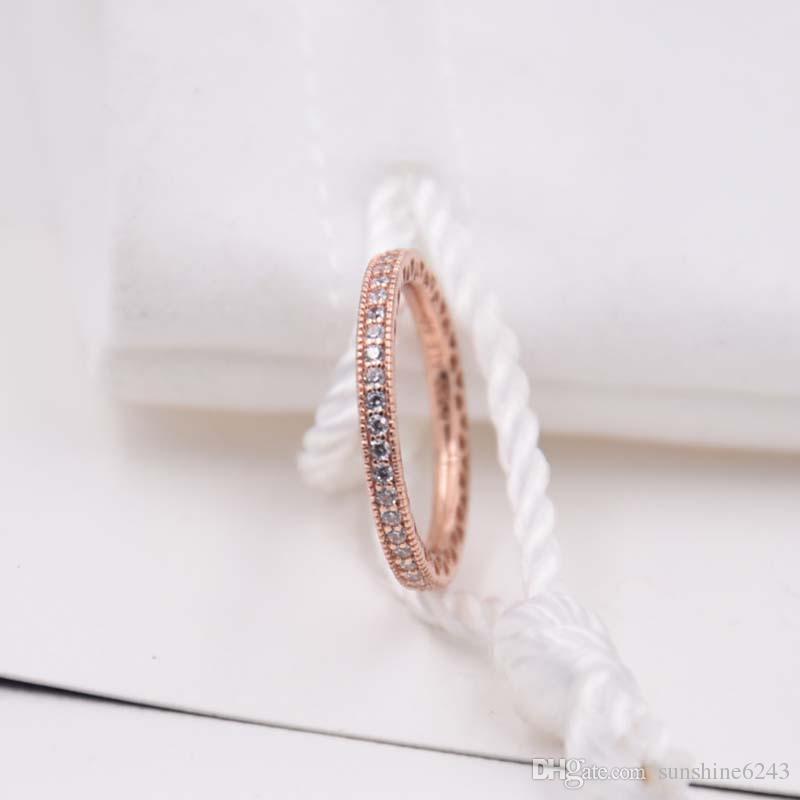 Rose Banhado A Ouro 925 Sterling Silver Ring Corações De Pandora Europeia Estilo Jóias Charme Anel Presente