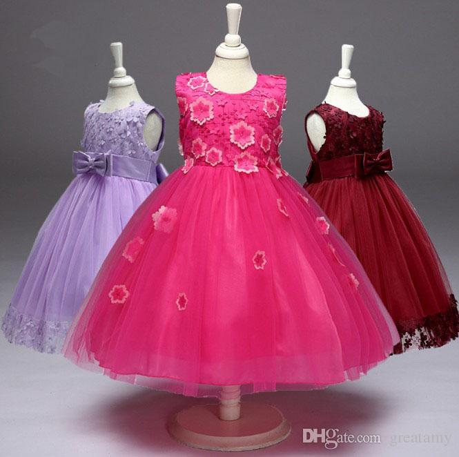 47ce69c2e 2019 Wholesale Big Girls Ball Gown Children Prom Flower Bow Dresses ...