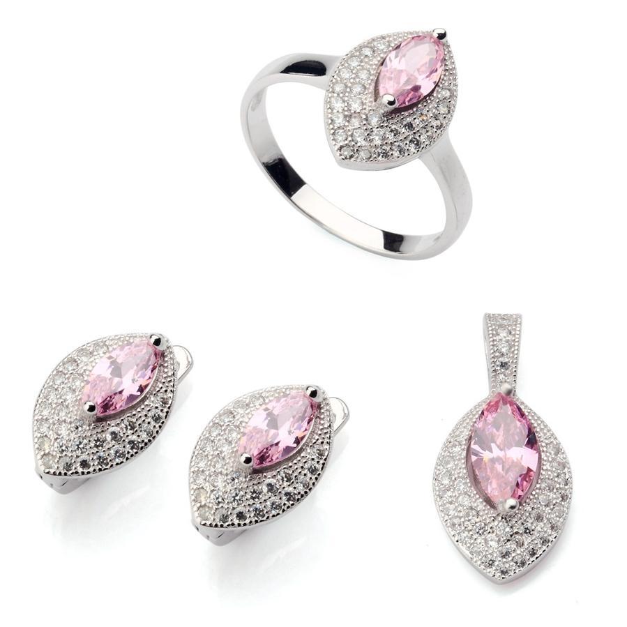 Kupfer Rhodium Plated Cute Herz Set Ring / Ohrring / Anhänger Pink Zirkonia Edle Großzügige MNsz # 6 7 8 9 Charme Fancy Neuzugänge