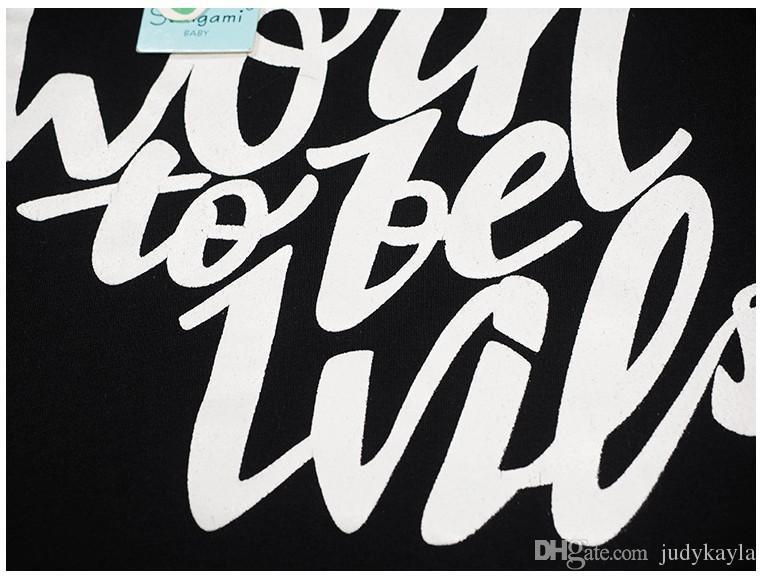 2016 New Girl Conjuntos de Roupas Moda Crianças Letras de Manga Curta T-shirt Tops + Calça + faixa de Cabelo Set Crianças Roupas de Verão 5 jogos / lote