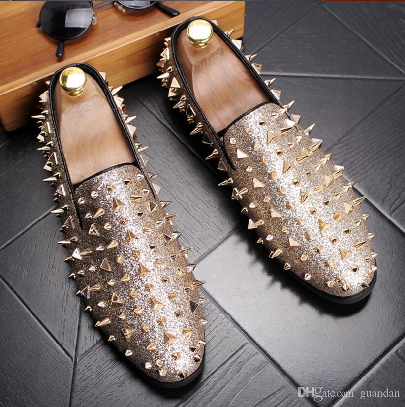 Homme point chaussure robe italienne designer mens robe chaussures doré cuir véritable noir luxe chaussures de mariage rivet bureau 2hn22