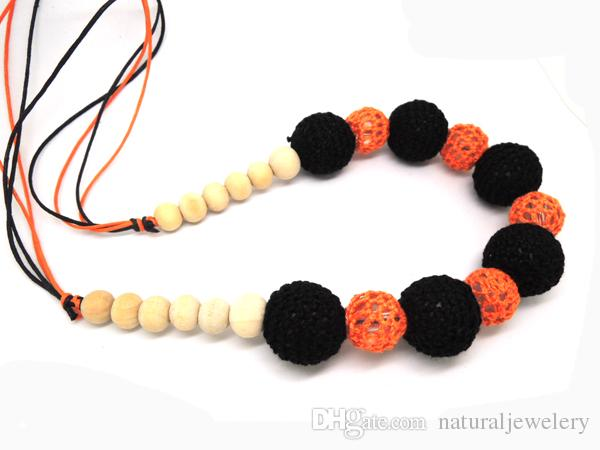 sale hot crochet nursing necklace ,knit ball Mommy necklace,Crochet beads Necklace halloween gift NW1386