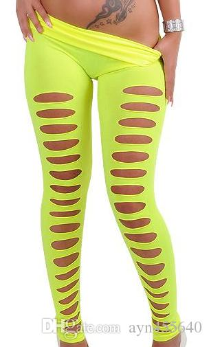 Women's Sexy Hot Hole Skinny Candy Color Stretchy Pants Soft Leggings Tights