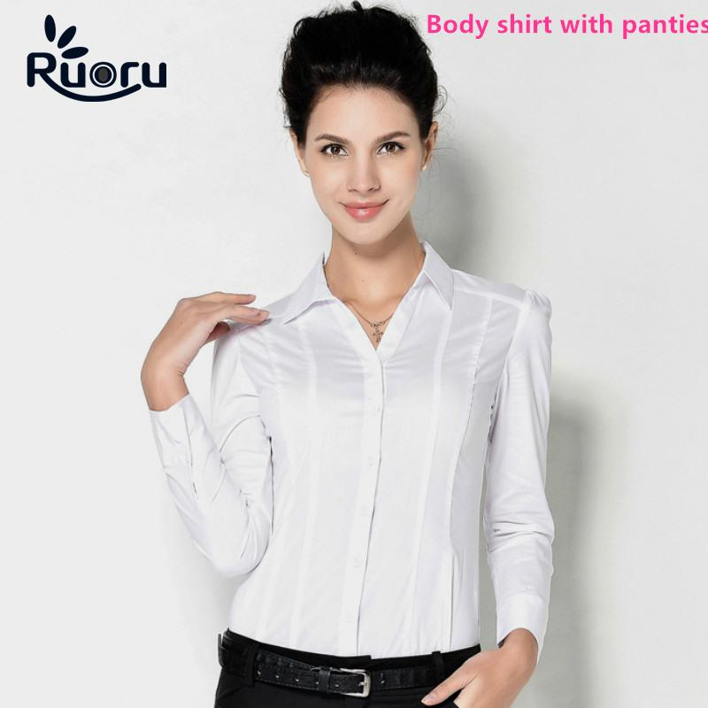 8735f96ea8c Ruoru Blusas Blouse Body Shirt Blouses Women Blusa Shirts Tops Casual Long  Sleeve Slim Fit White Formal for Woman Work Clothes