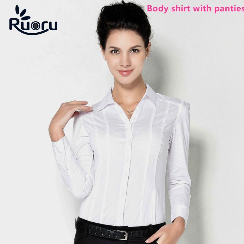 e474a07c7 Ruoru Blusas Blusa Body Camisa Blusas Mujer Blusa Camisas Tops Casual Manga  Larga Slim Fit Blanco Formal para Mujer Ropa de trabajo