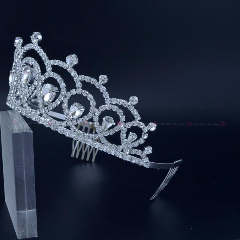 Medium Crowns Tiaras Miss Beauty Pageant Queen Crown Austrian Crystal Wedding Events Bridal Hair Accessories Headpieces Headband Mo227