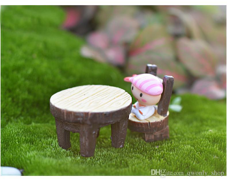 Vintage Table Chair Fairy Garden Decoration Home Decor Terrarium Figurines Miniatures Baison Tools Resin Craft Gnomes Home Accessories