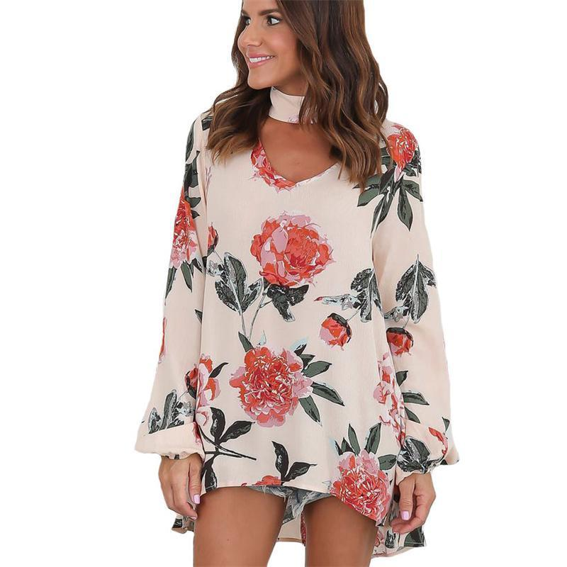 d16ed013dce11a 2019 Autumn Chiffon Blouse Women Floral Plus Size Shirt With Long Sleeve  Woman Shirts Clothes White Blouses Sexy Tops For Women From Vogogirl