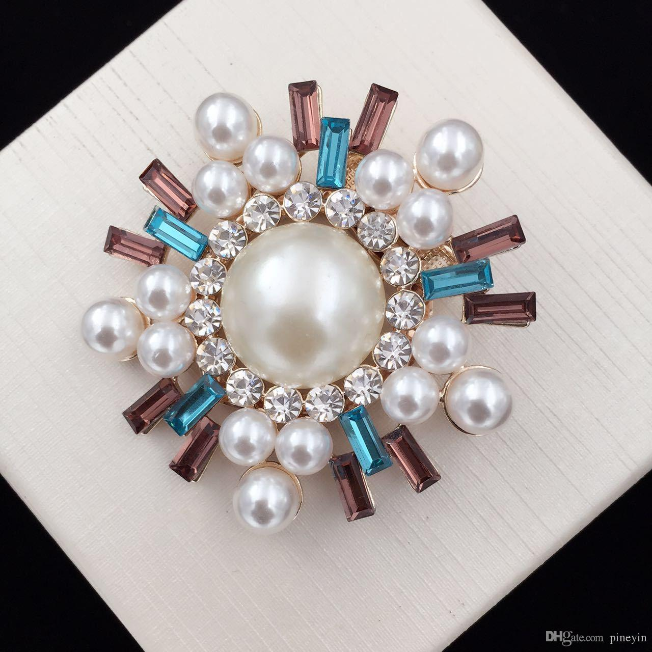 Pearl Crystal colorful Glass Brooches Silk Buckle Cute Fashion For blouse and dress fit for woman and girls XZ62