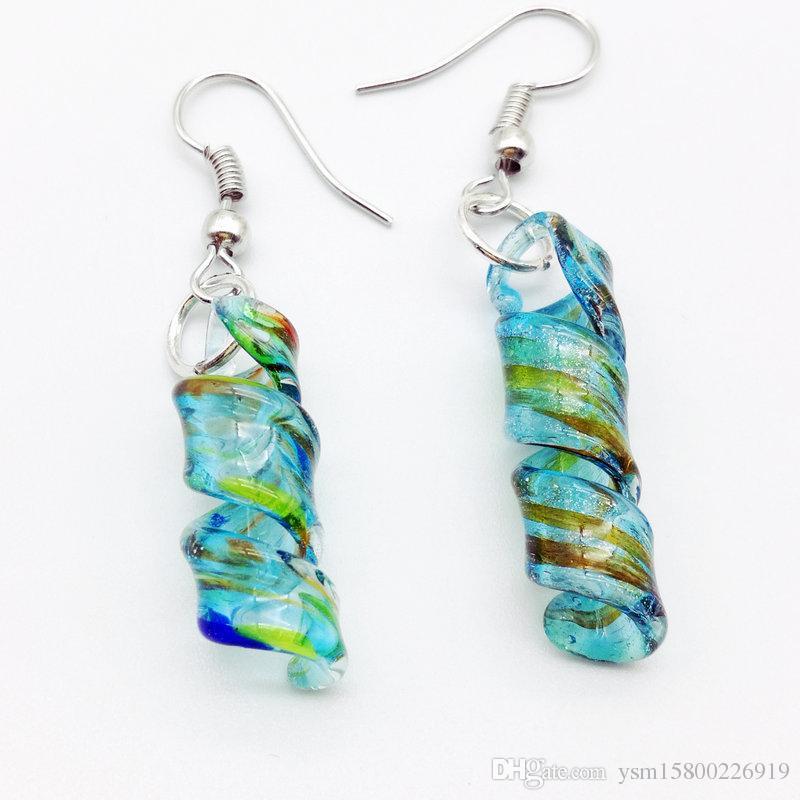 5 مجموعة الأزرق دوامة Lampwork زجاج مورانو الخرز قلادة أقراط الأزياء 57 × 18 ملم