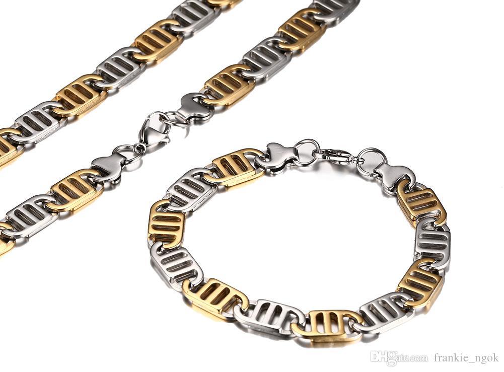 Aço inoxidável exagerado alta polido ip banhado a ouro colar pulseira conjunto de jóias homens do punk bangle