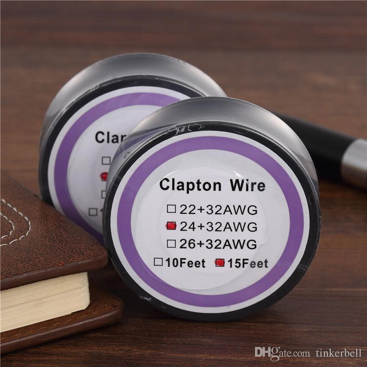 Clapton Wires Roll Heating Wires DIY RDA Vaporizer Prebuilt Coils 15 Feet Individually Packed For E Cigarettes Fast Shipping