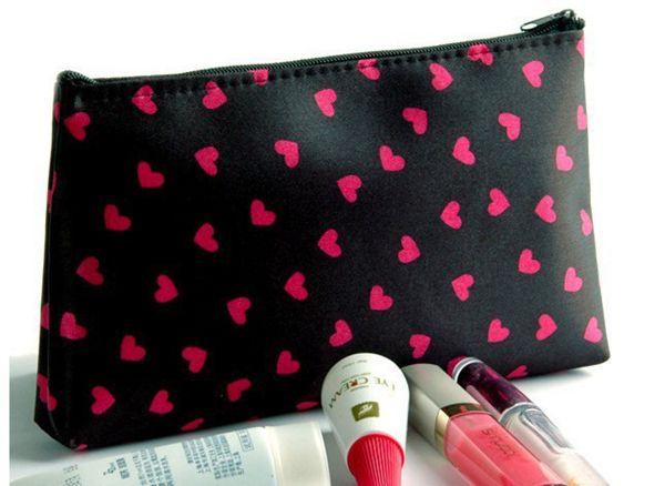 Mini Herz Druck Kosmetiktaschen Cases Nette Handtasche Makeup Bag Organizer Kulturbeutel Schnelles verschiffen Freies verschiffen
