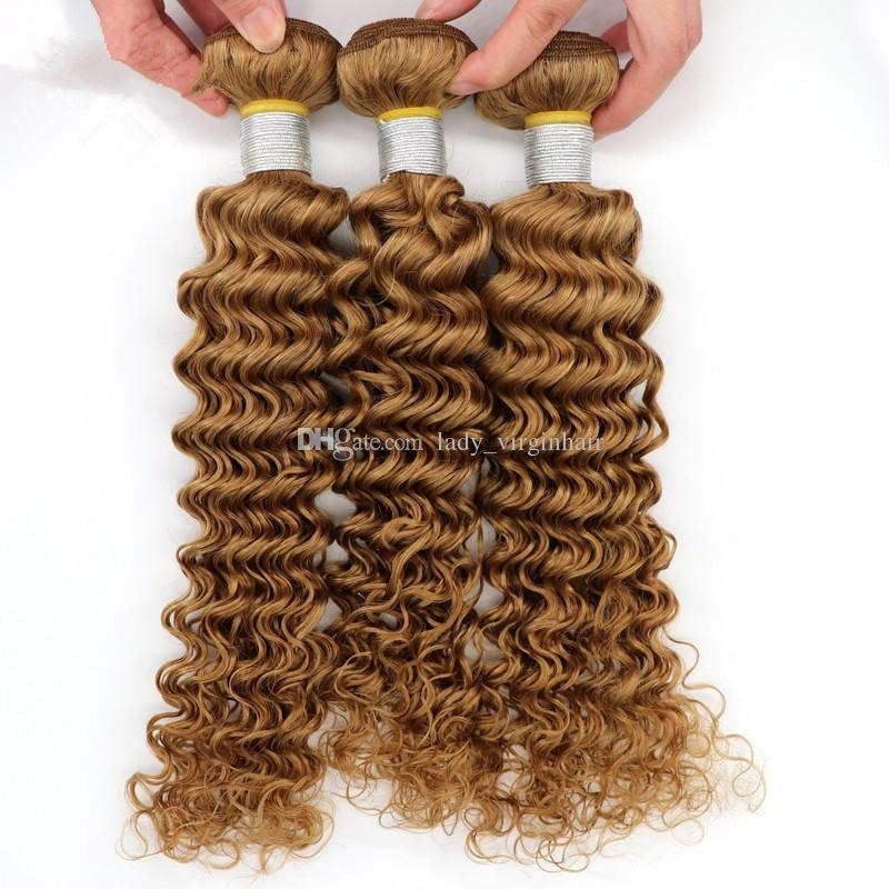 Бразильские Человеческие Волосы Блондинка 4 Пучки 27 Цвет Мед Блондинка Ткать Бразильские Наращивание Волос Глубокая Волна Вьющиеся Светлые Волосы Плетение Утки