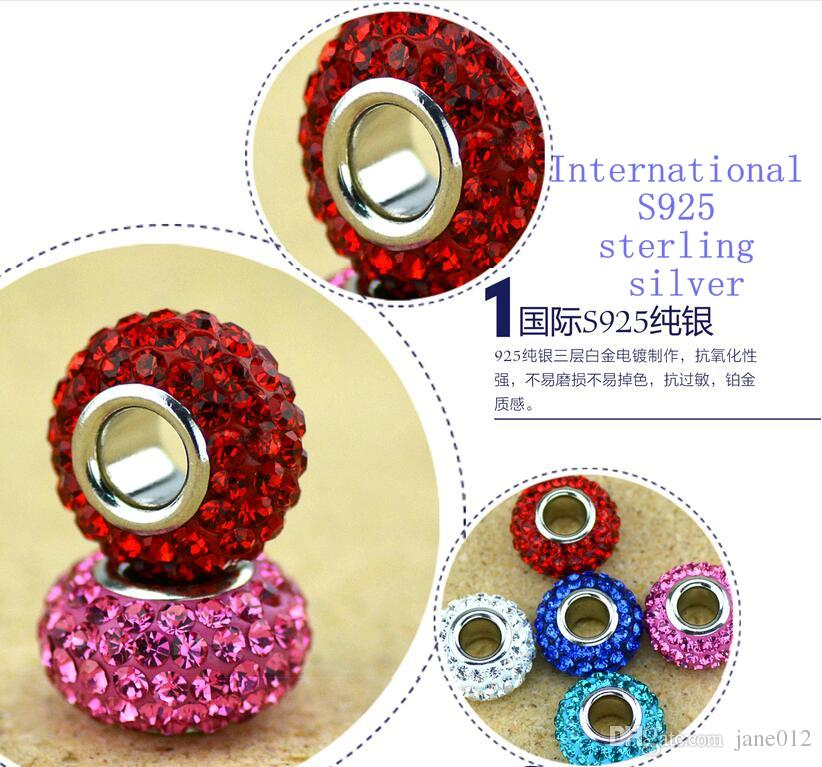 Shamballa multicolore resina strass perline di alta qualità 925 sterling silver beads in cristallo di allentato adatto europeo bracciali gioielli fai da te