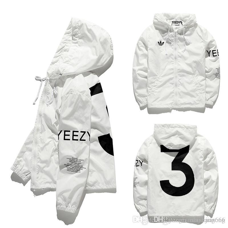 Designer Jacket Men Kanye Hip Hop Black White Windbreaker Jackets ...