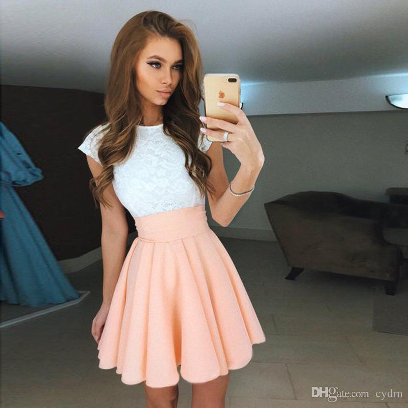 Европейский стиль элегантный темперамент цвета округлой шеи короткий рукав кружева платье розовый, желтый, оранжевый, красный, серый поддержка смешанная партия