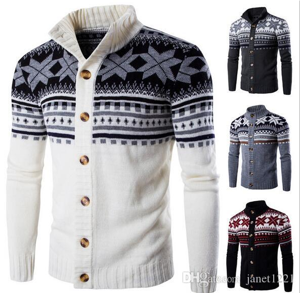Autumn Mens Cardigan Sweaters Stand Collar Personalize Flowers ...