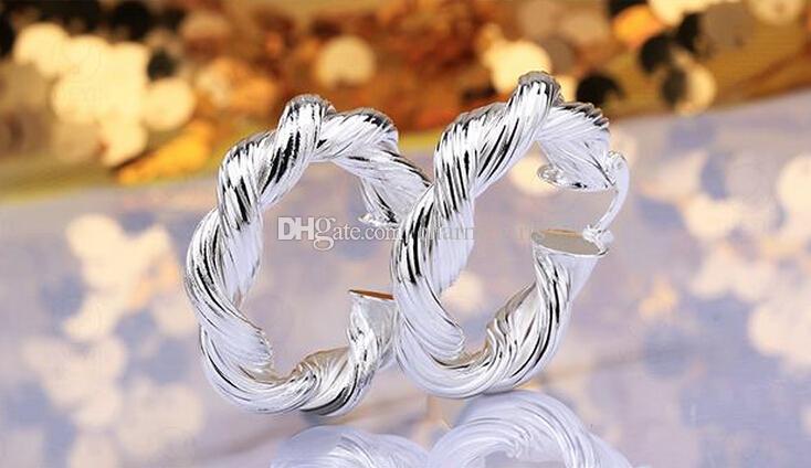 / bijoux placage de haute qualité en argent sterling 925 cadeaux mode de boucles d'oreilles d'oreille 40mm fleurs de chanvre hyperbole grande boucle d'oreille