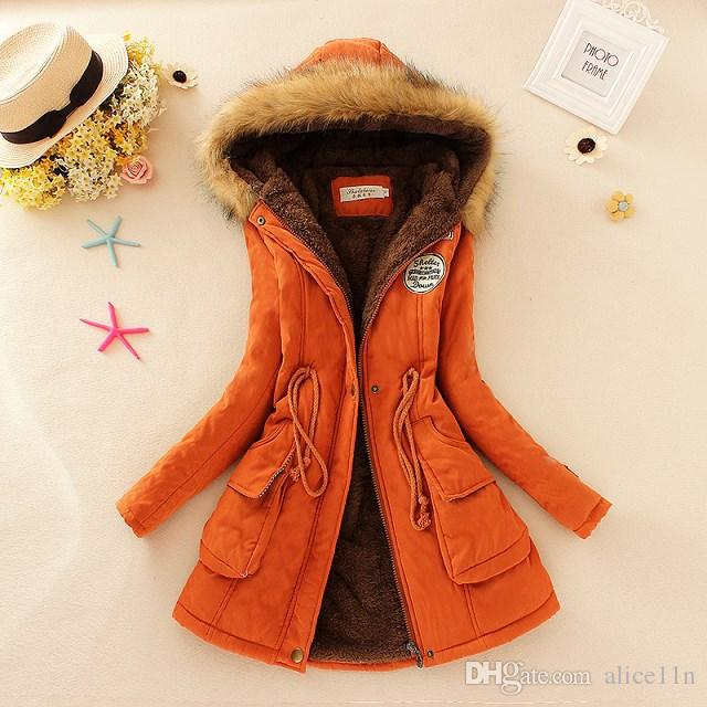 Wholesale-2017 New Winter Women Jacket Coat Hooded Fur Collar Parkas Female Thickening Cotton Winter Jacket Womens Outwear Parkas for Female